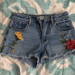 jean high rise shorts